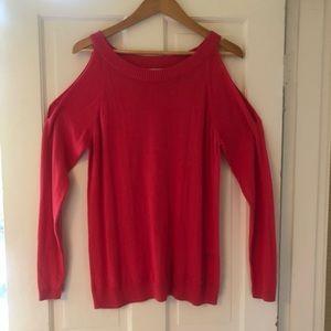 Calvin Klein coral cold shoulder sweater
